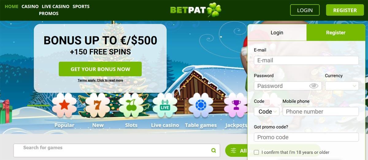 BetPat kasiino konto loomine