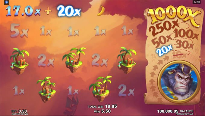 Treasure Skyland boonusmäng