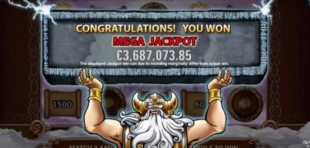 Hall of Gods 3.7 miljoni euro suurune võit