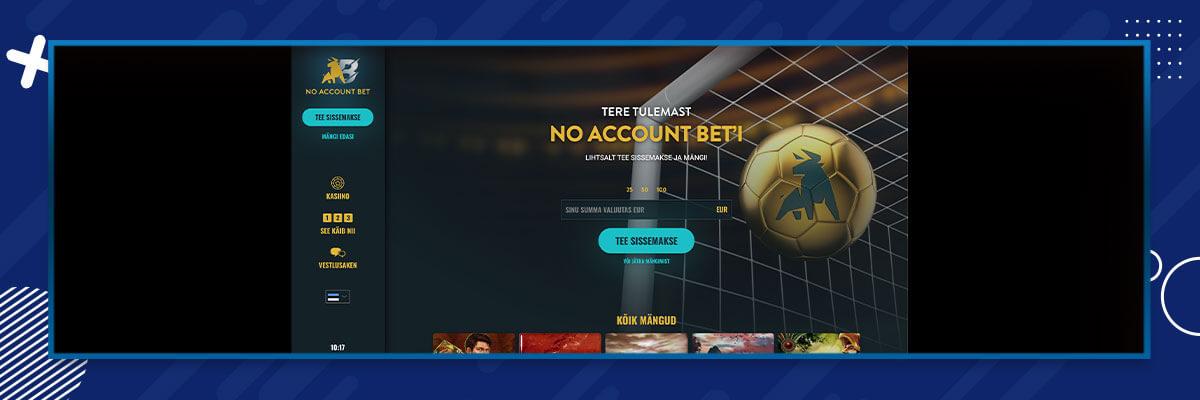 No Account Bet kuvatõmmis