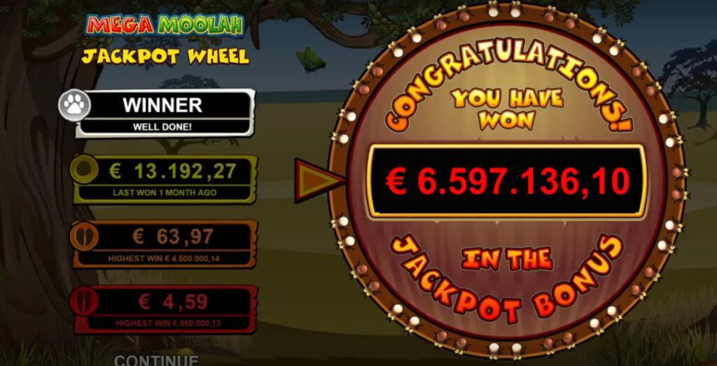 Mega Moolah 6.5 miljoni euro suurune võit