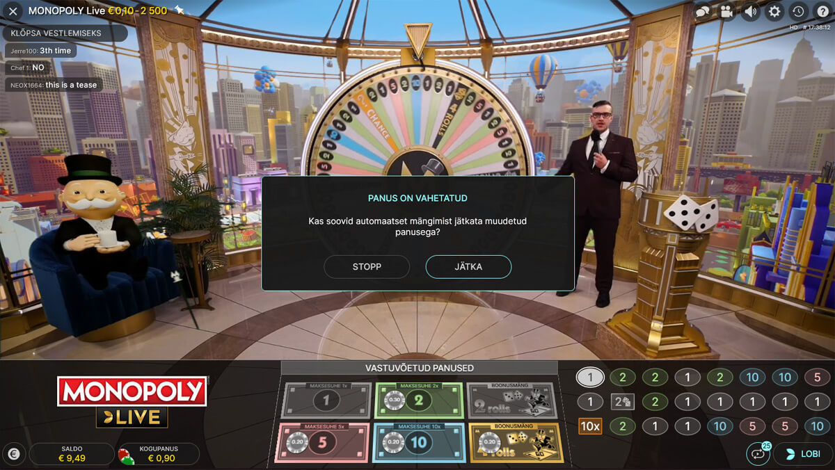 Monopoly Live ayutomaatmäng