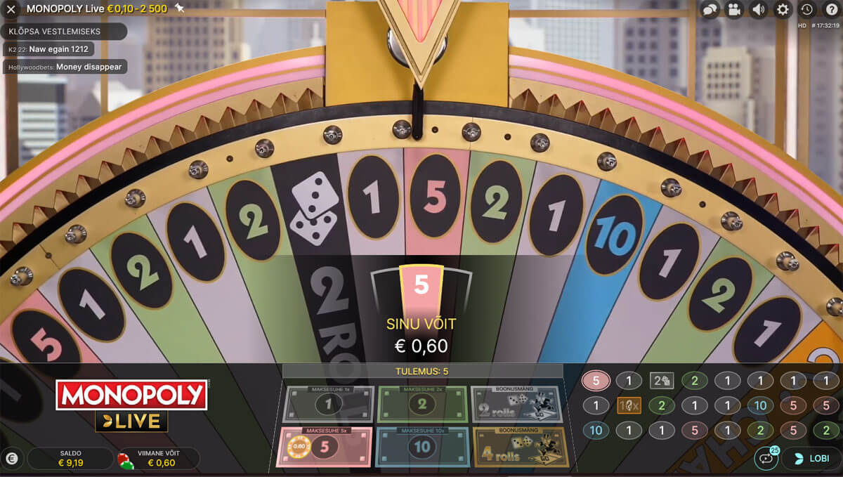Monopoly Live võit number viiega
