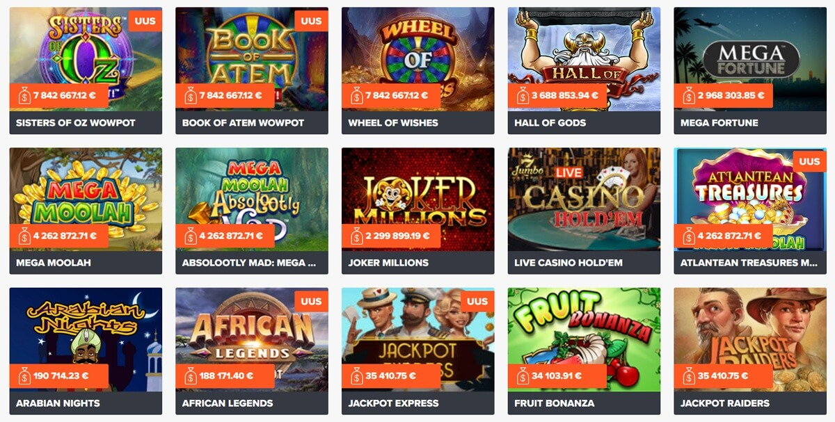 Ninja Casino jackpot-slotid